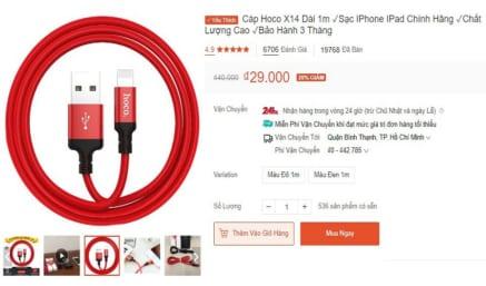 Cáp sạc Lightning chính hãng Hoco X14 cho Iphone / Ipad