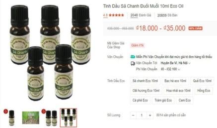 Tinh dầu sả chanh đuổi muỗi 10 ml - Tinh dầu thiên nhiên duổi muỗi