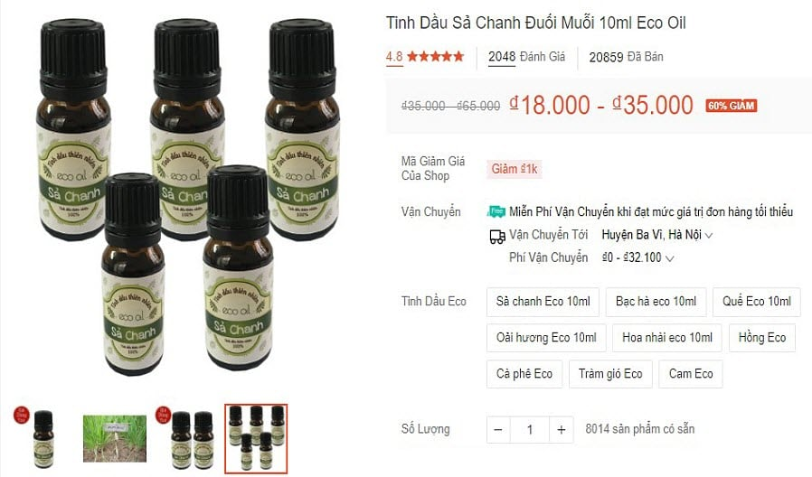 Tinh dầu sả chanh Eco Oil (dung tích 10 ml) – Cùng 8 loại hương liệu tinh dầu thiên nhiên khác