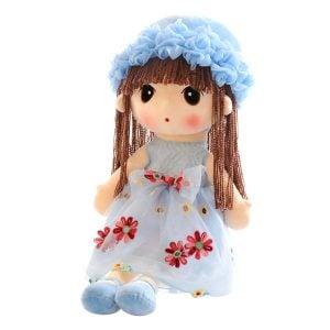 Búp Bê Bông Cô Bé Váy Hoa Voan Size (40cm) - Xanh Ngọc