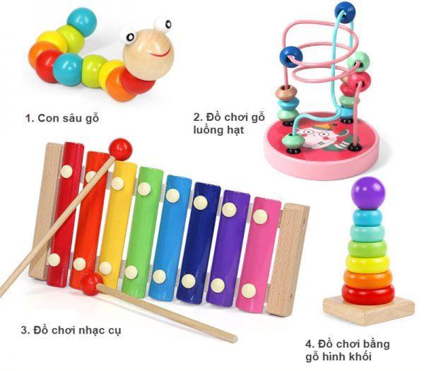 Combo - Đồ chơi bằng gỗ hạt luồng - Kiểu 1