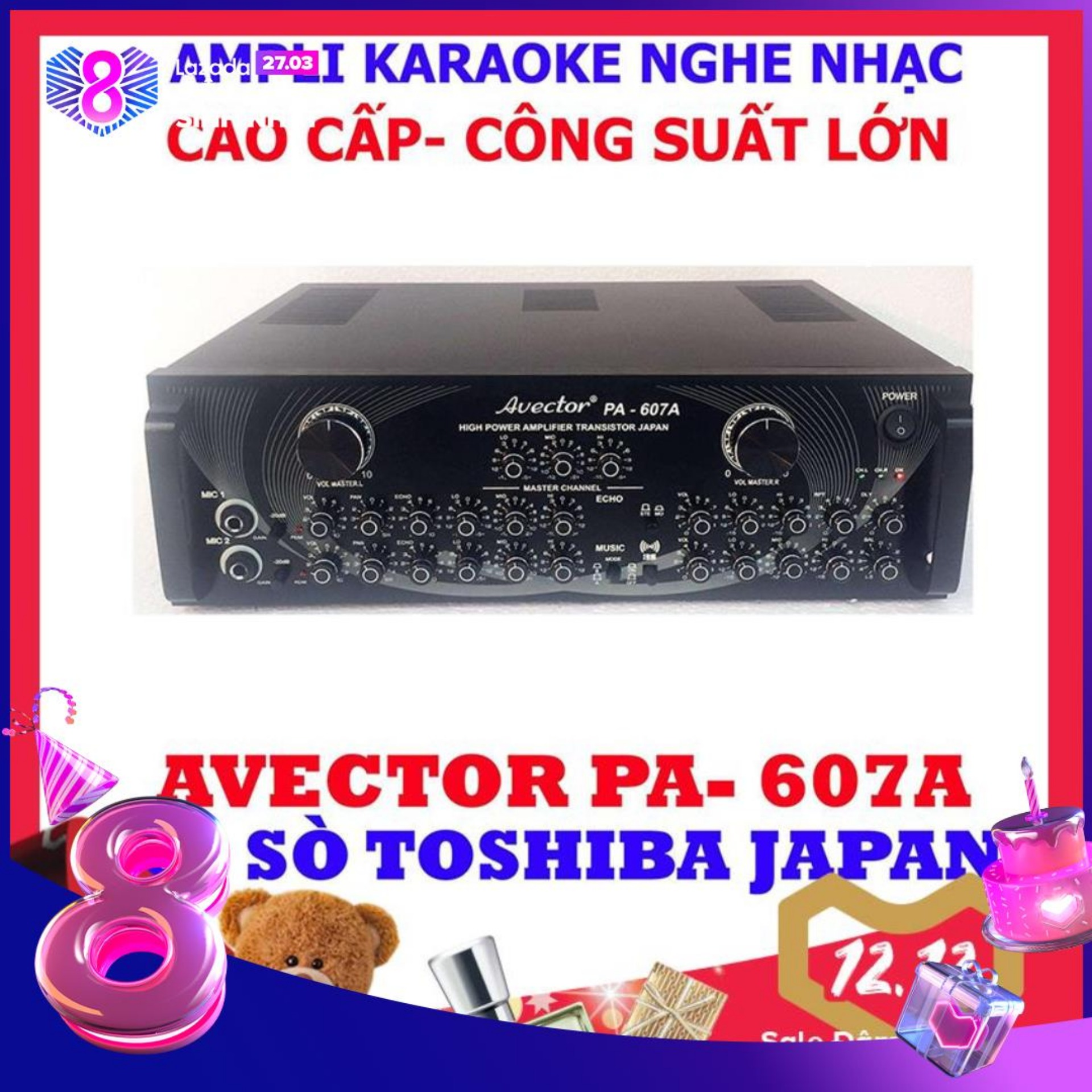 Ampli karaoke Amply nghe nhạc CAO CẤP AVECTOR 607A hát karaoke cực chuẩn tặng usb bluetooth