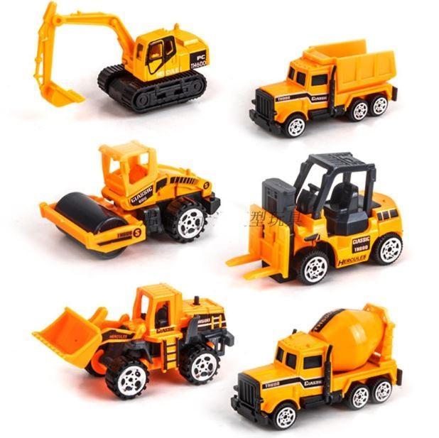 Bộ 6 xe Xây Dựng Die-Cast 3688-03 bằng Kim Loại – Đồ chơi Xe Mo Hình Xây Dựng cho bé