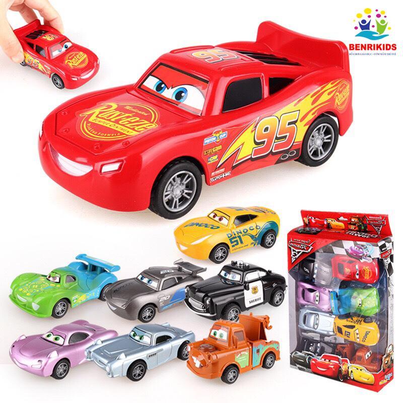 Bộ 8 Xe Đồ Chơi Mô Hình Disney Car Chạy Bánh Đà Cực Đẹp Cho Bé Trai