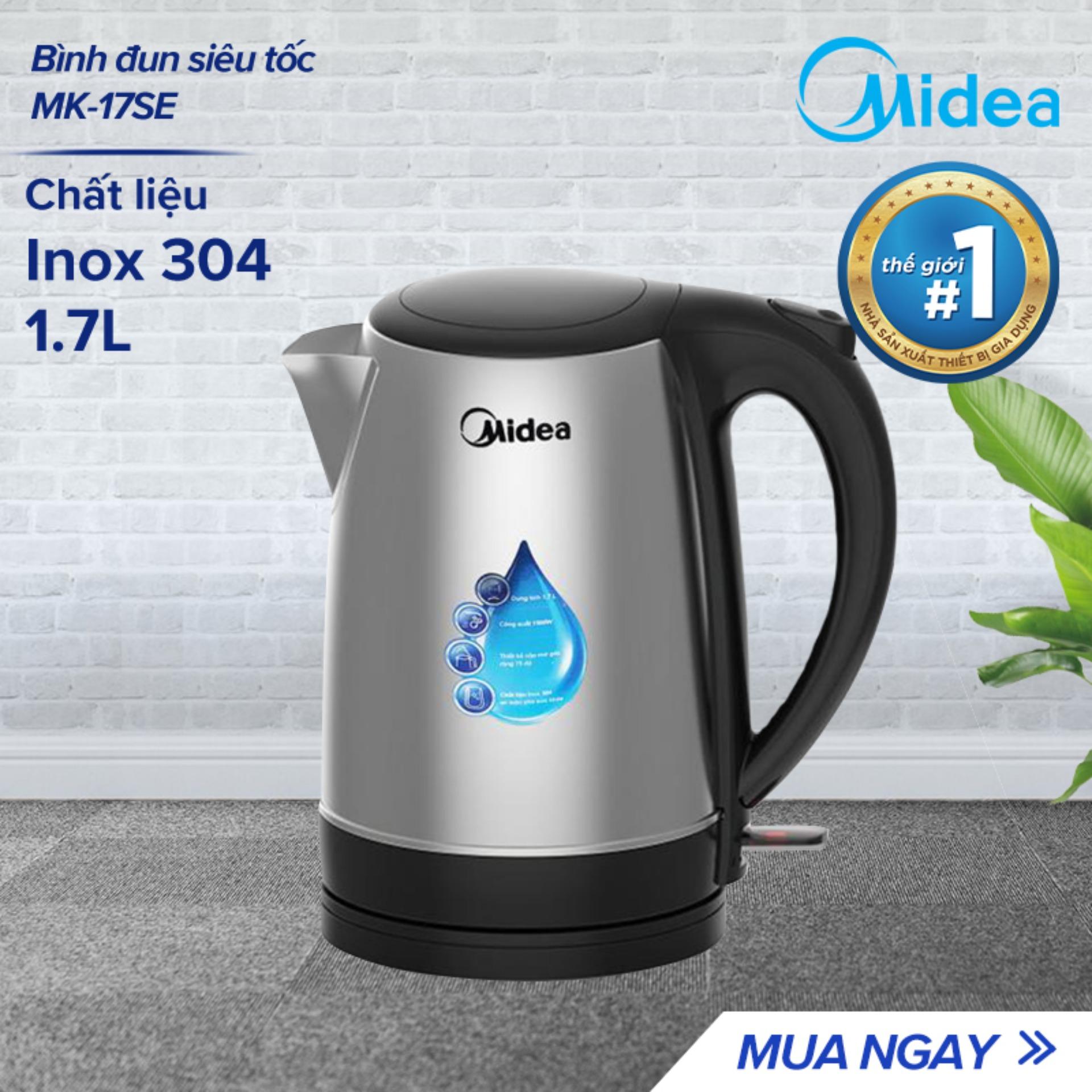 Bình đun siêu tốc Midea MK-17SE - 1500W 1.7L - Thiết kế Inox cao cấp & an toàn - Tự ngắt khi nước sôi và khi cạn nước - Hàng phân phối chính hãng bảo hành 1 năm