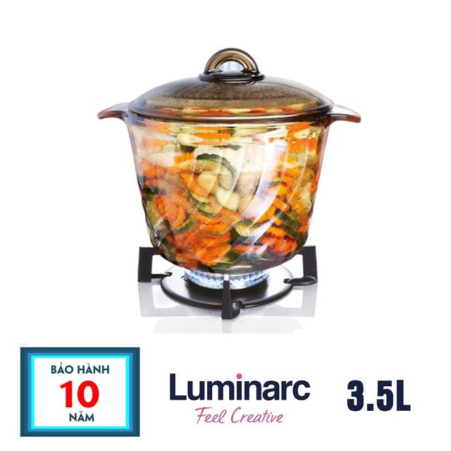 [Có video] Nồi thủy tinh Luminarc Amberline Trianon Eclipse 3.5L D2795 tiết kiệm năng lượng, giữ nhiệt lâu, dễ chùi rửa - Bảo hành 10 năm