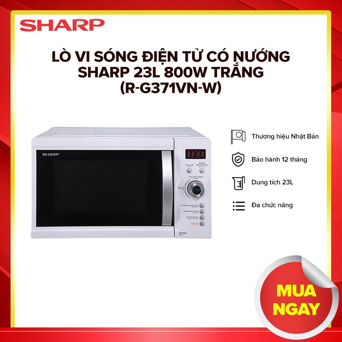 Lò vi sóng điện tử có nướng Sharp 23L 800W Trắng (R-G371VN-W) - Hàng phân phối chính hãng, 5 công suất vi sóng