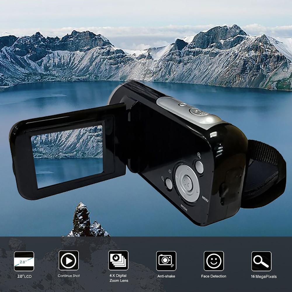 Màn Hình Hiển Thị TFT 16 Triệu Điểm Ảnh Máy Quay Video HD Cầm Tay Máy Ảnh Kỹ Thuật Số 4X Camera Zoom số 2 inch