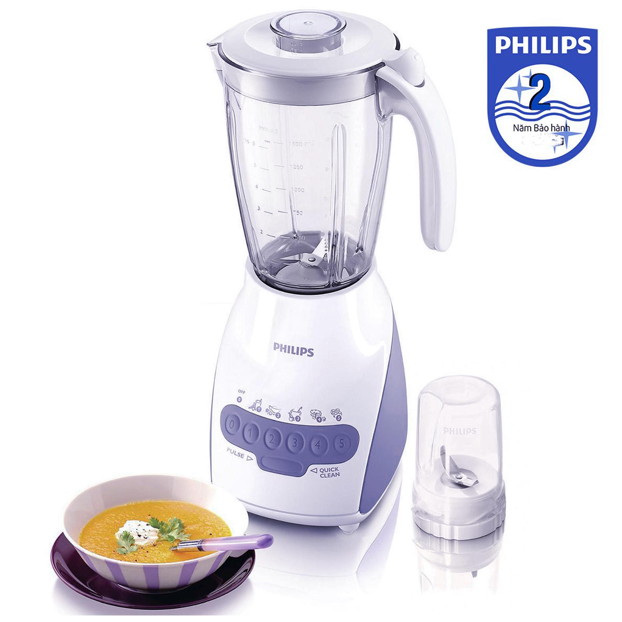 Máy xay sinh tố Philips HR2115 1.5L (Trắng) - Hàng Chính Hãng