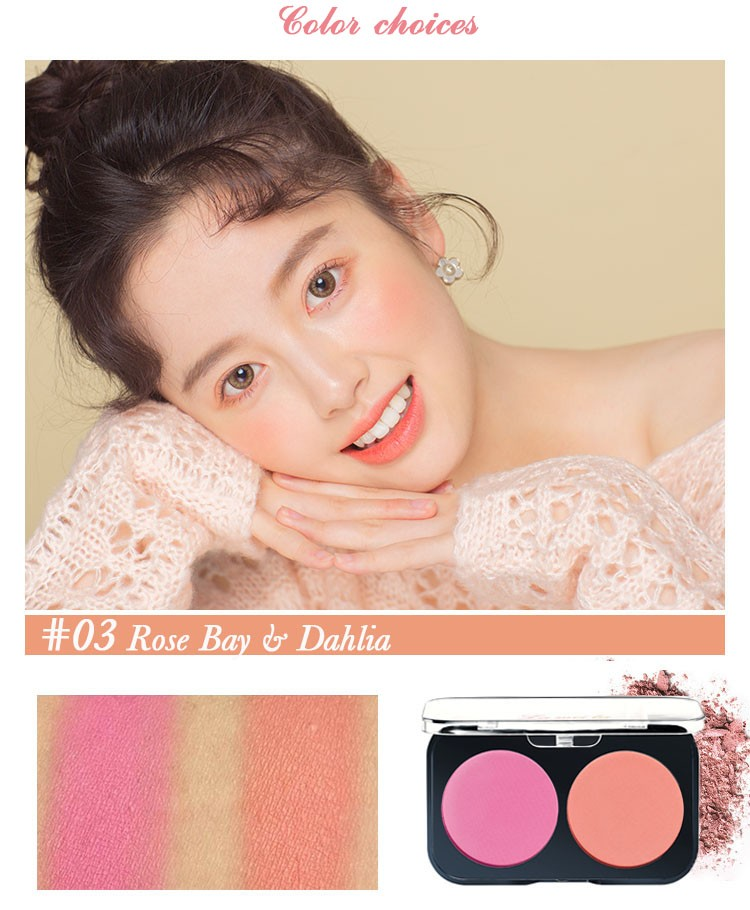 Phấn má hồng hộp 2 ô màu Lameila kèm chổi đánh má hồng - Phấn mềm mịn và lên màu đẹp - SHTP019