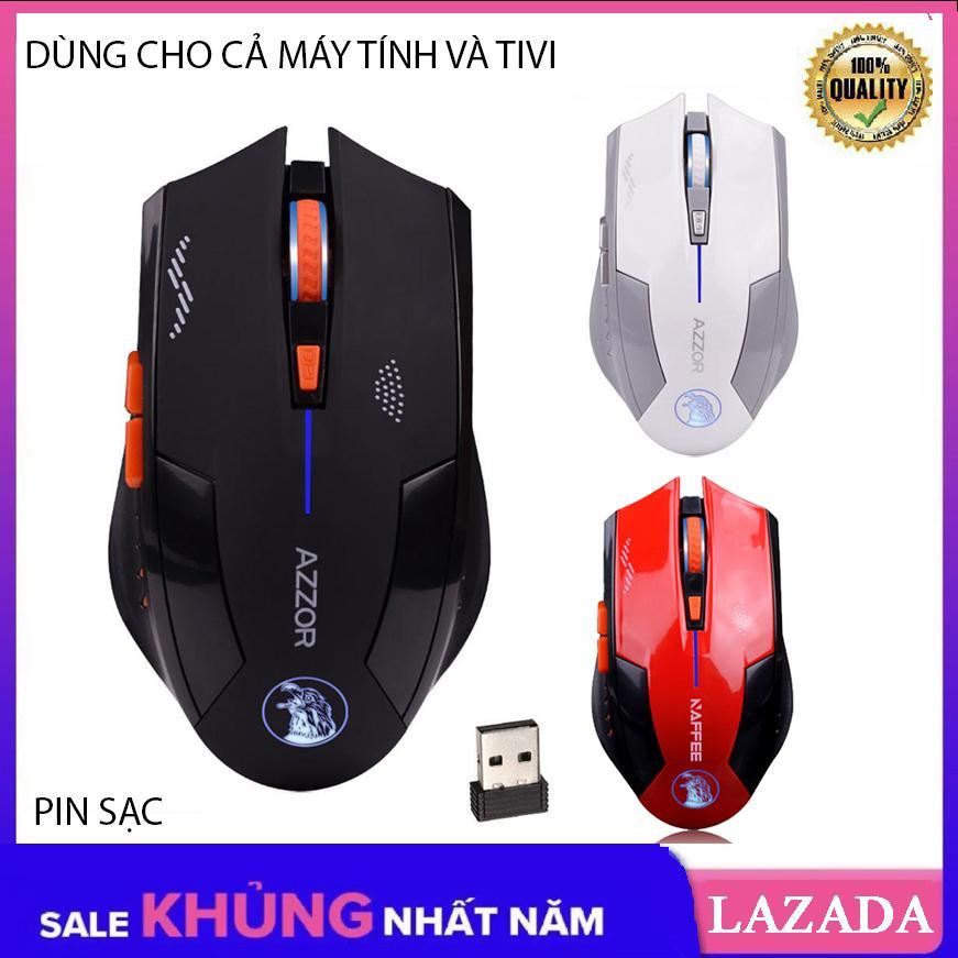 [Tặng Lót 30K] Chuột không dây dùng pin sạc, Chuột dùng cho cả máy tính và Tivi AZZOR EAGLE phiên bản mới
