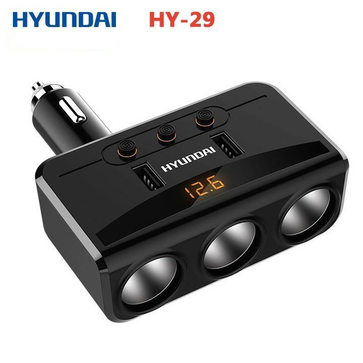 Bộ chia tẩu sạc ô tô 3 cổng đa năng Hyundai HY-29 kèm 2 cổng USB HY29