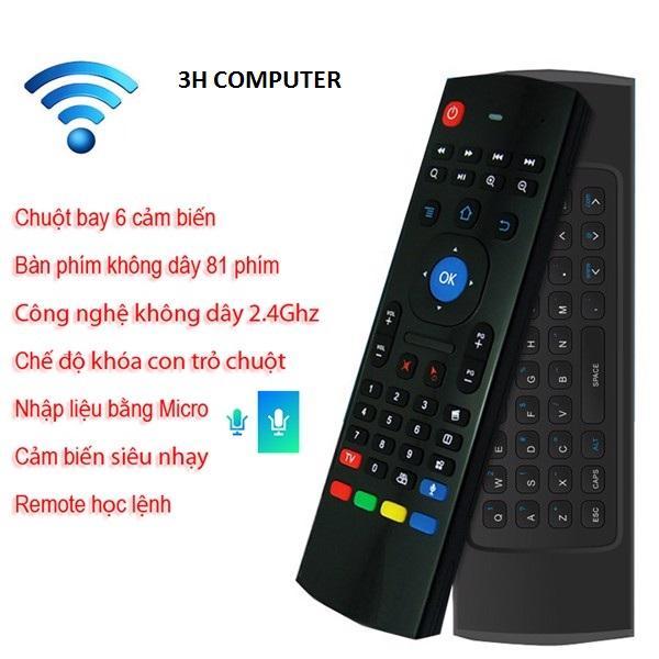 Chuột bay kiêm bàn phím Chuột Bay MX3 Pro - Voice Search Siêu Nhạy ,Chuột bay cho android tivi - có bàn phím và học lệnh hồng ngoại - MX3 Có hổ trợ mic nói