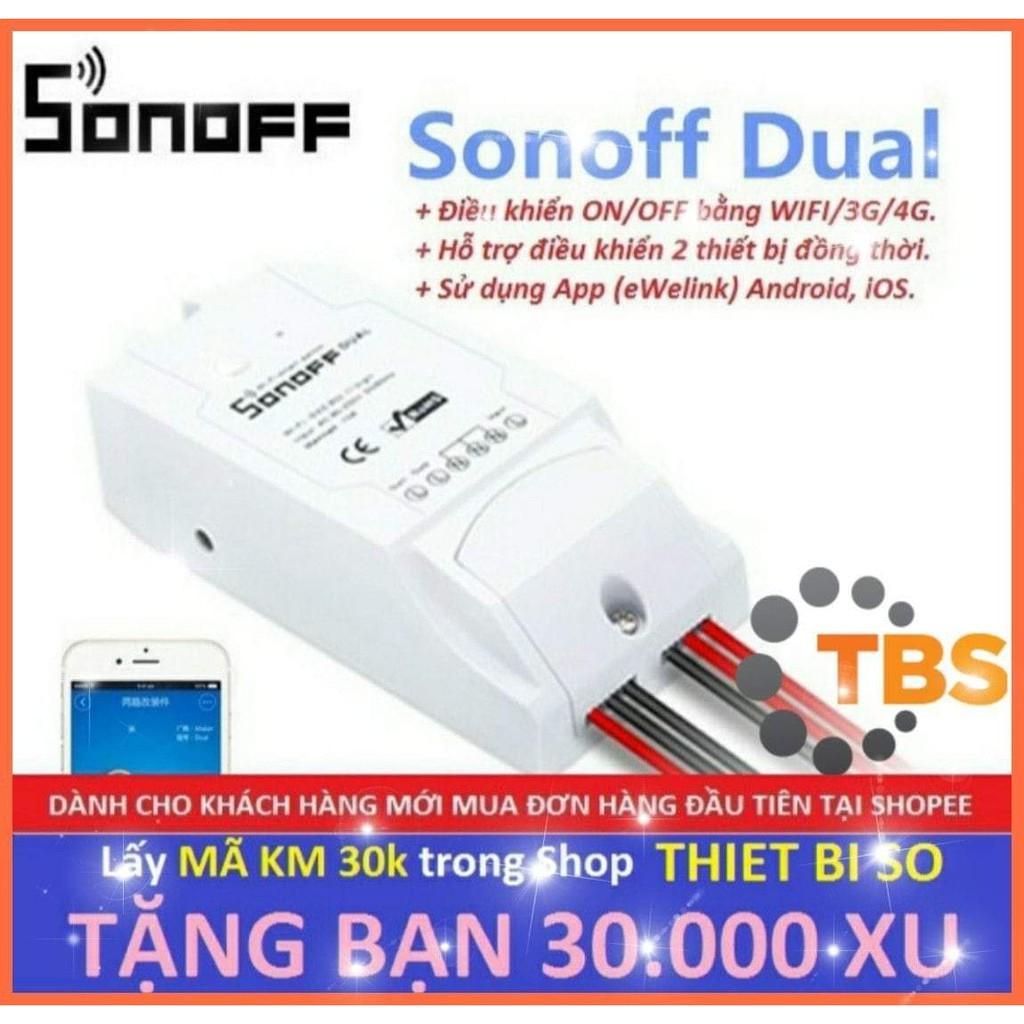 Công tắc thông minh 2 kênh Sonoff Dual điều khiển từ xa qua WIFI, 3G, 4G