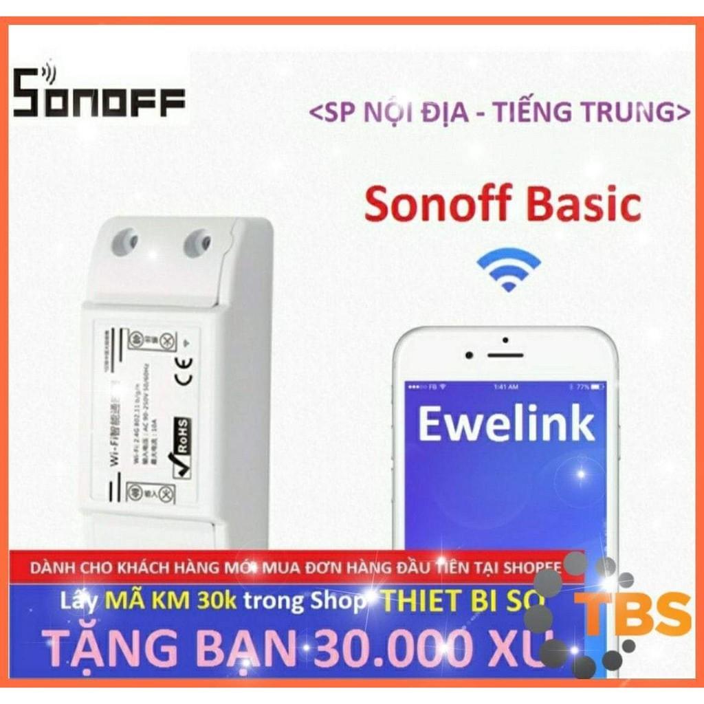 Công tắc thông minh Sonoff Basic (SP Nội Địa - Tiếng Trung), điều khiển từ xa qua WIFI, 3G, 4G