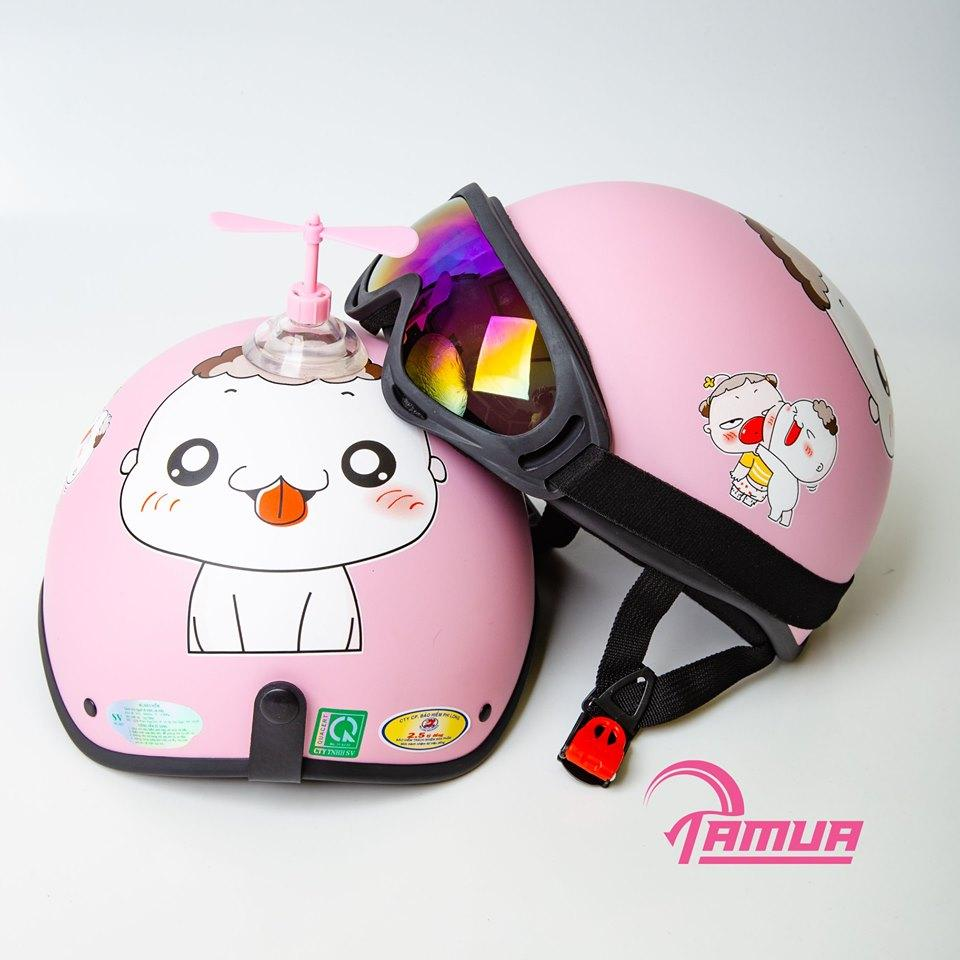 [Combo] Mũ Bảo Hiểm Nửa Đầu + Kính UV400, mũ Củ Cải - Quỳnh Aka