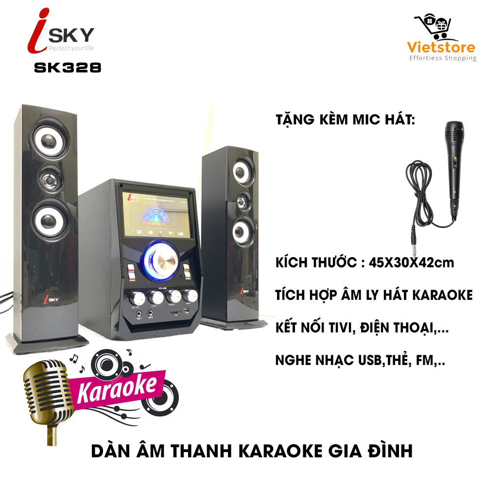 Dàn âm thanh giải trí đỉnh cao tại nhà - loa vi tính lớn hát karaoke âm thanh đỉnh cao có kết nối Bluetooth USB Isky - SK328 (Tặng kèm Micro hát)