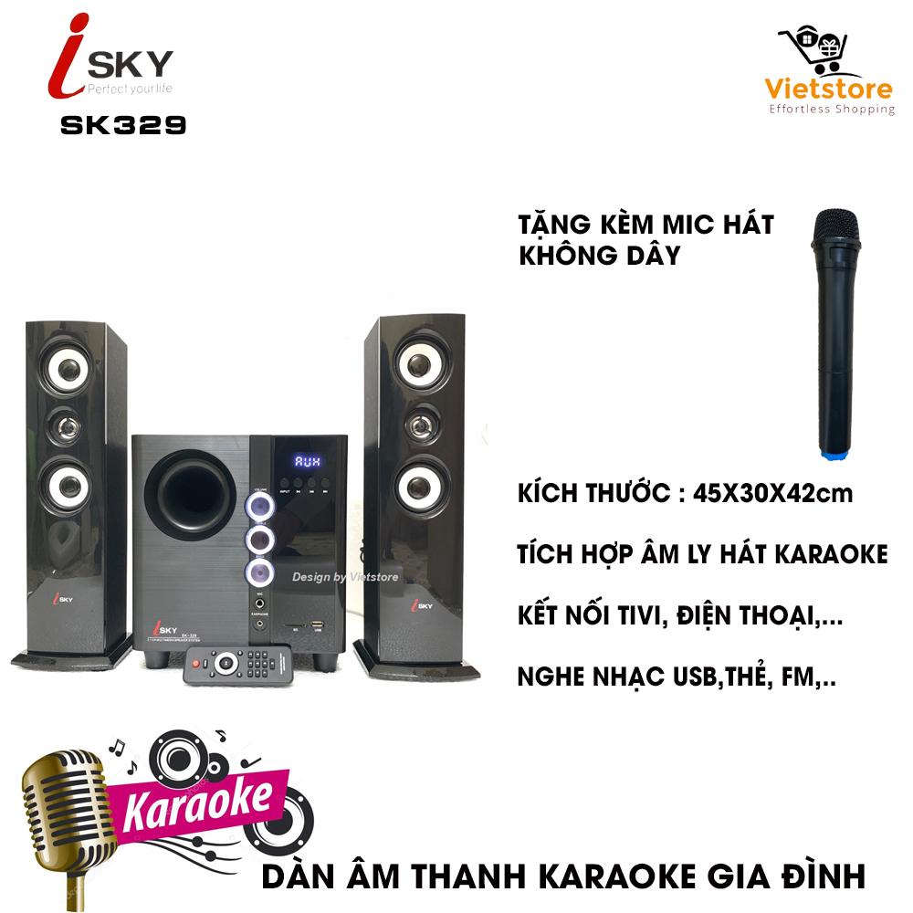 Dàn âm thanh tại nhà - loa vi tính công suất lớn hát karaoke âm thanh đỉnh cao có kết nối Bluetooth USB Isky - SK329 (Tặng kèm Micro không dây) - Phân phối bởi Vietstore