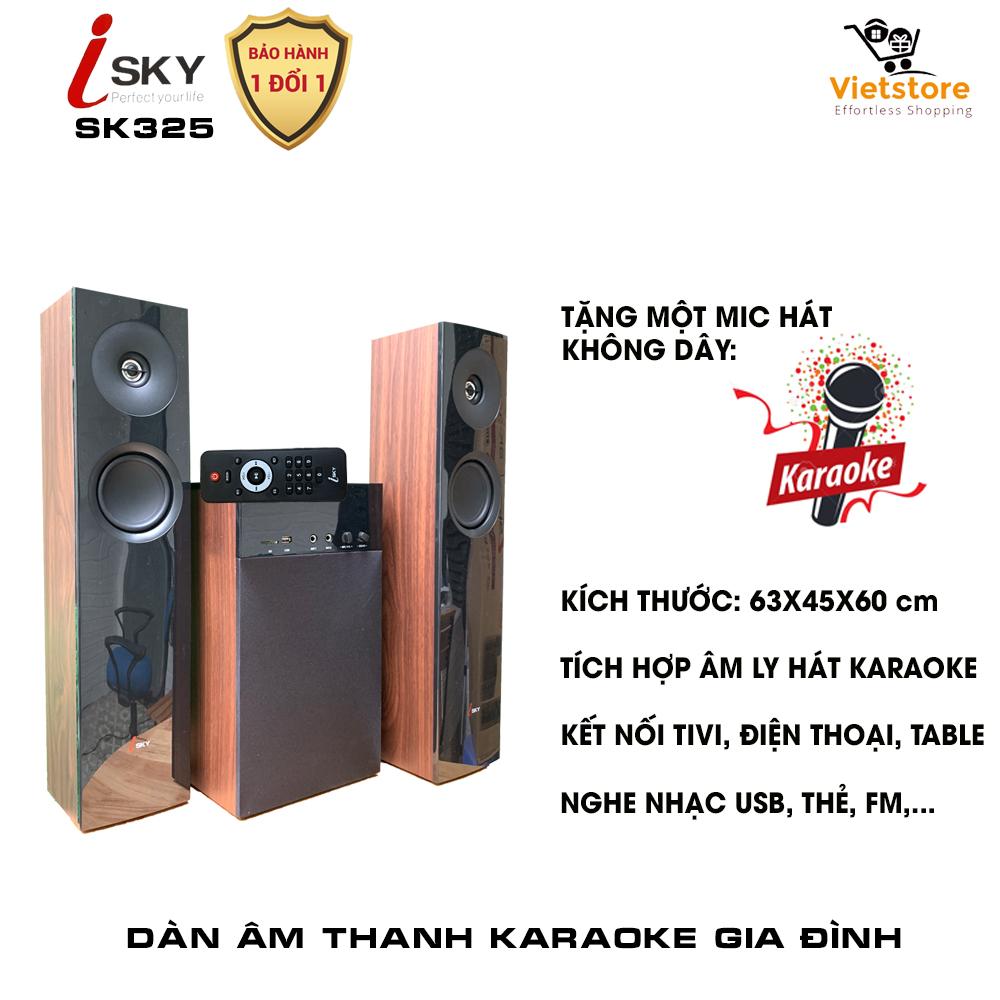 Dàn karaoke gia đình - Dàn âm thanh khủng kết nối Tivi , iphone, ipad, smartphone Hát karaoke - loa vi tính cỡ lớn âm thanh Hifi siêu Bass có kết nối Bluetooth nghe nhạc USB thẻ nhớ Isky - SK325 (Tặng kèm Micro không dây) - Thiết kê vân gỗ