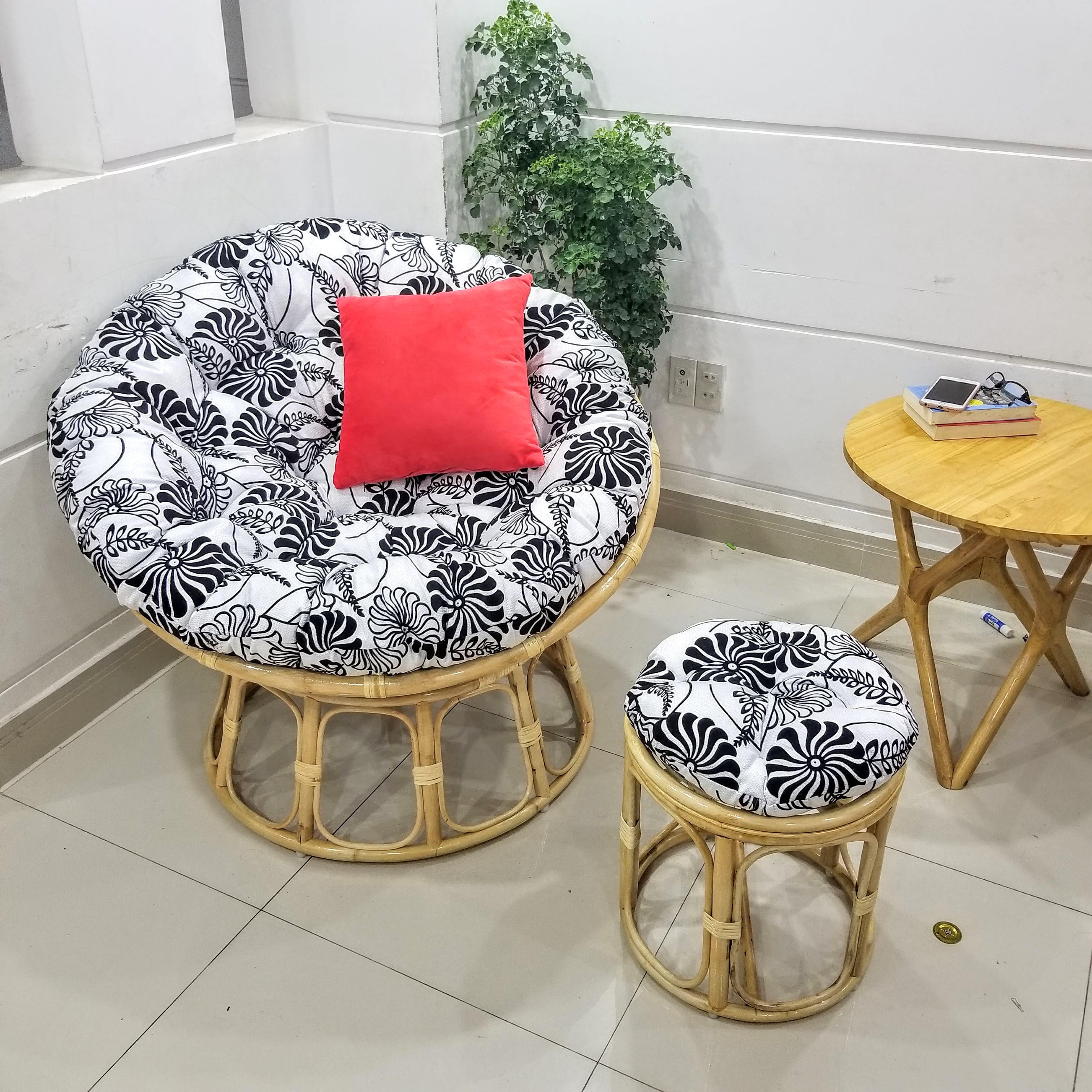 Ghế papasan + đôn (chất liệu vải nệm cao cấp)