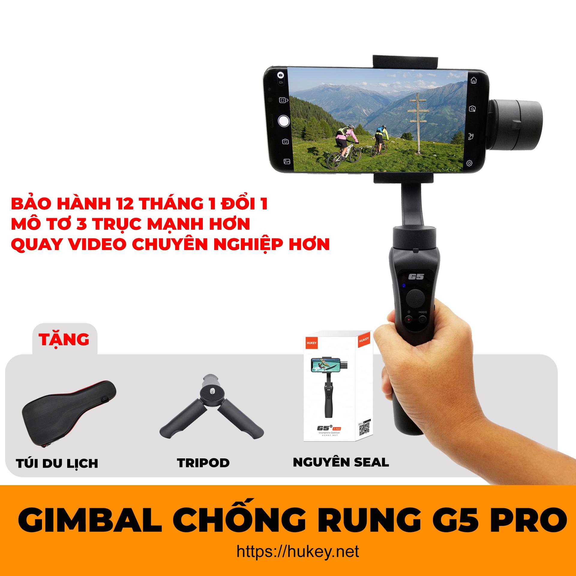 Gimbal chống rung HUKEY G5 PRO cho Smartphone, Gopro, Gitup, Sjcam, Eken - Đối thủ đáng gờm Zhiyun Smooth 4 - Gimbal tay cầm chống rung HUKEY G5 PRO