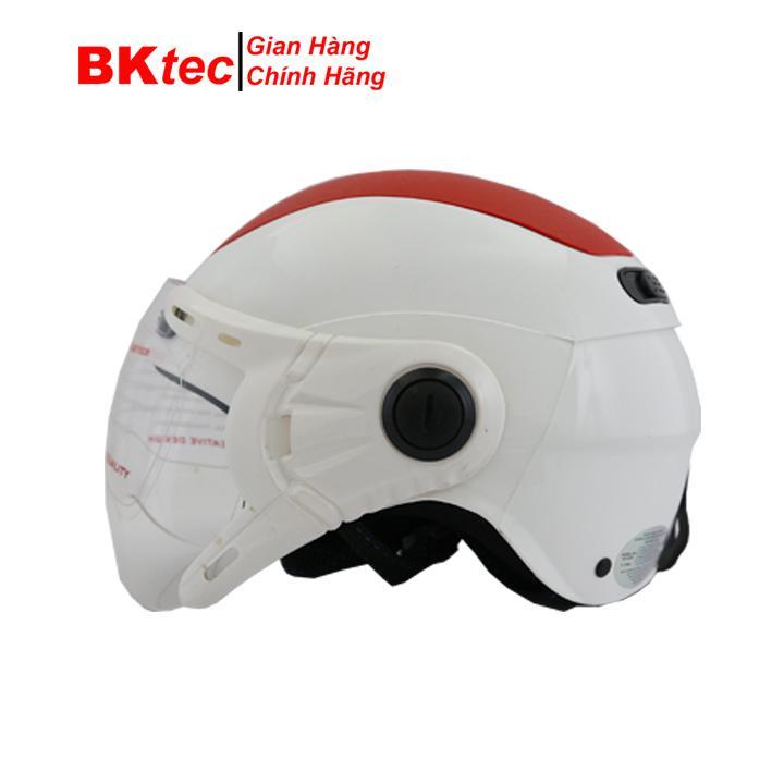 Mũ bảo hiểm nửa đầu có kính chính hãng BKtec, mũ bảo hiểm thời trang, mũ bảo hiểm có kính chống bụi, nón bảo hiểm cao cấp