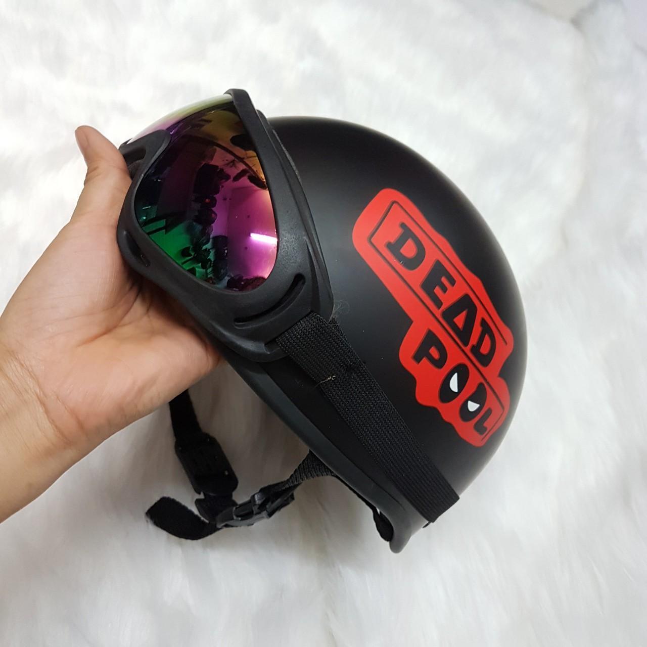Mũ bảo hiểm nửa đầu tem Deadpool + Tặng kính UV Loại Đẹp