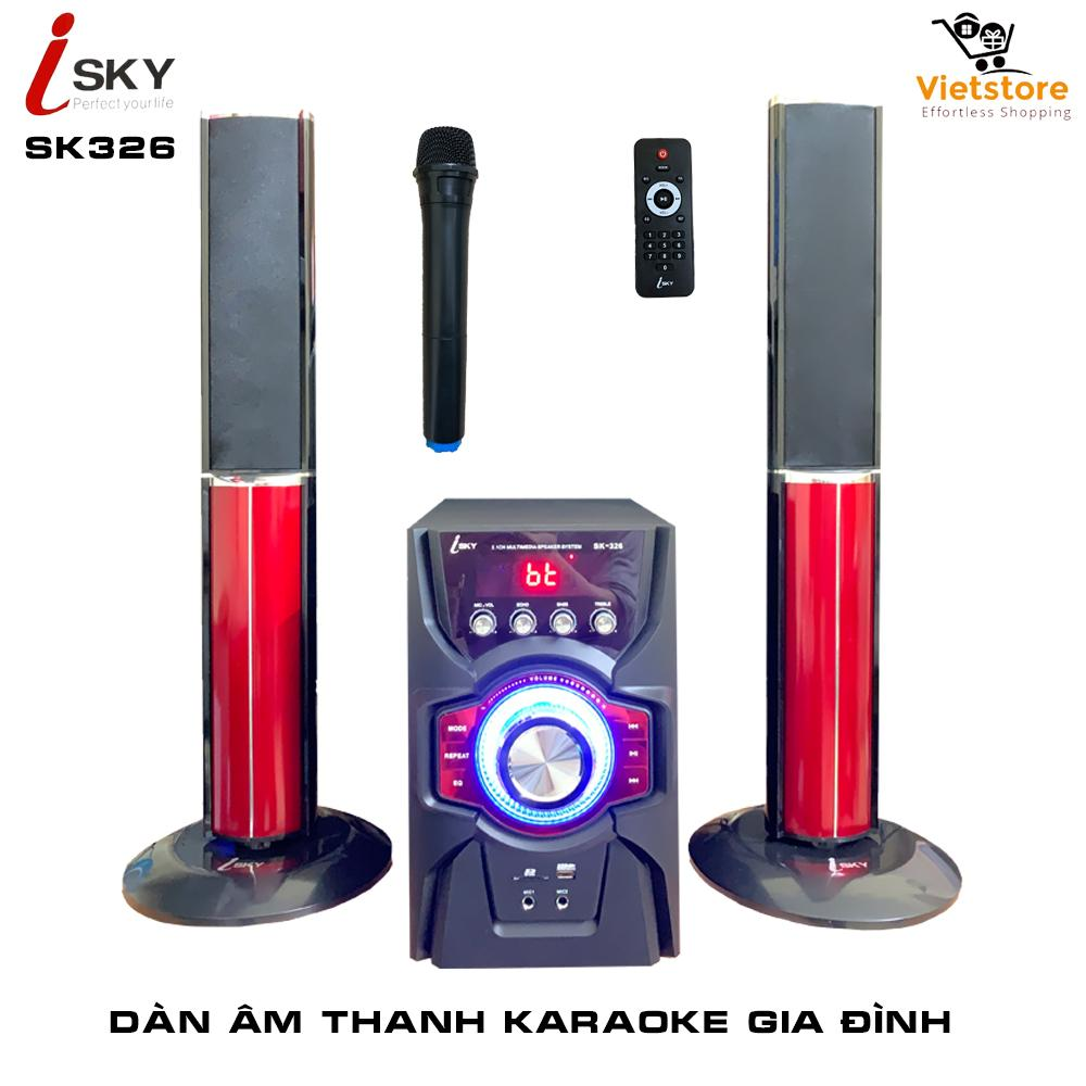 [Miễn phí vận chuyển] Dàn âm thanh khủng tại nhà - dàn karaoke gia đình- kết nối Tivi , iphone, ipad, smartphone - loa vi tính cỡ lớn âm thanh Hifi siêu Bass đỉnh cao có kết nối Bluetooth USB thẻ nhớ Isky - SK326 (Tặng kèm Micro không dây)