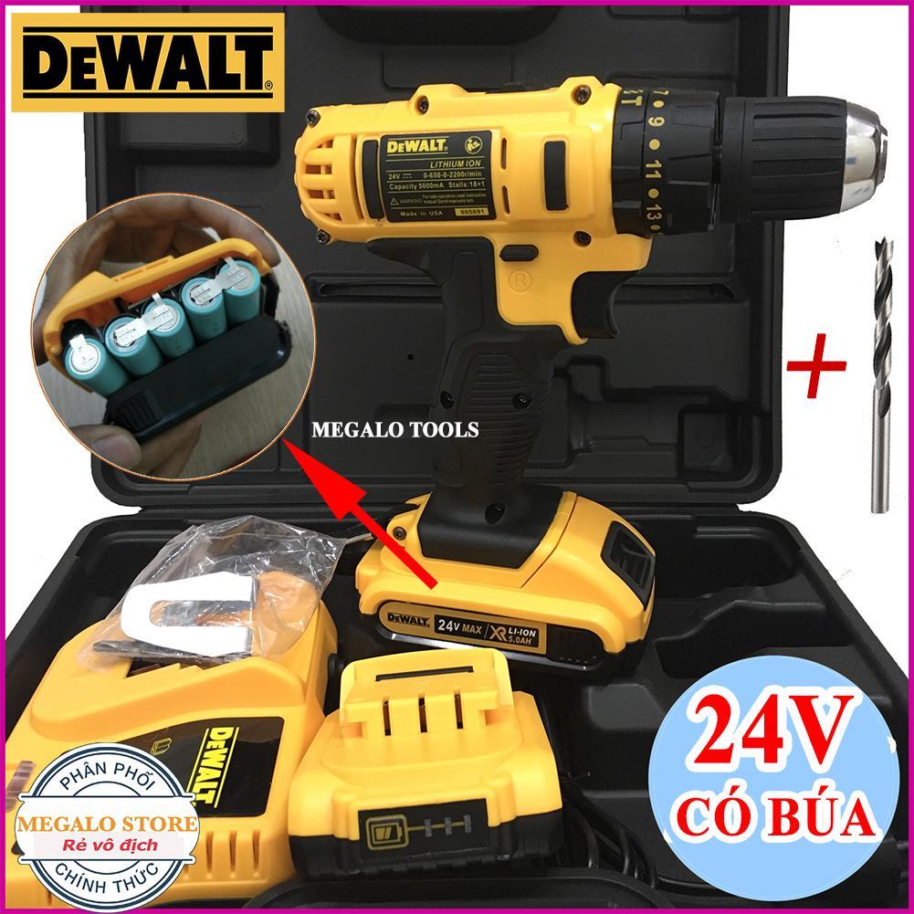 Máy khoan pin Dewalt 24V Búa, Khoan bắt vít cầm tay Tặng Mũi khoan