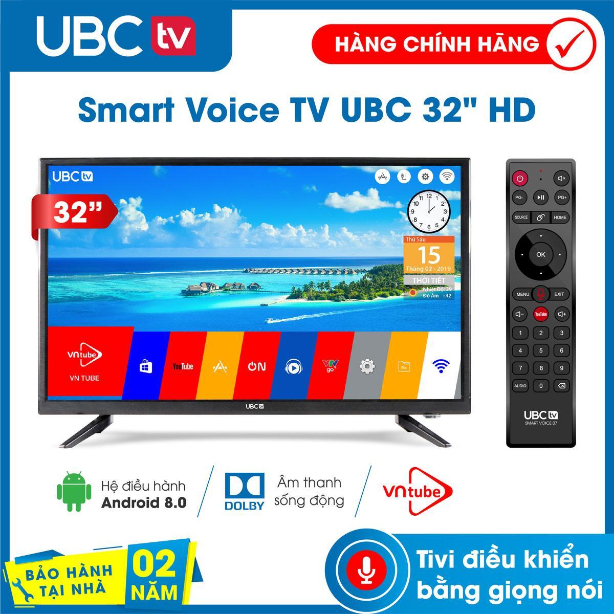 Smart tivi UBC HD Wifi 32 inch Android 8.0, tìm kiếm giọng nói (voice search), tính năng bảo vệ trẻ em (mới), remote 2 in 1, Model 32P300S - Bảo Hành 2 năm tận nhà, công nghệ dò kênh tự động Free-to-Air, âm thanh Dolb