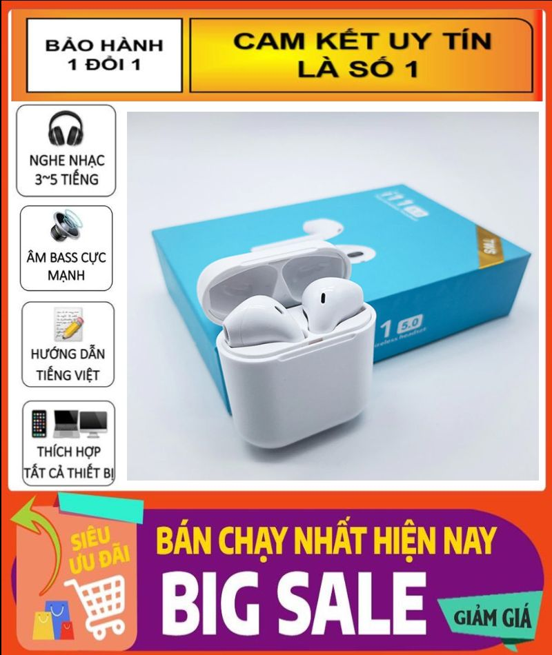 Tai Nghe Bluetooth 5.0 i11 TWS, Âm Thanh 5.0 , Nút Cảm ứng , Có Cửa Sổ Tự Kết Nối , Tai nghe Bluetooth không dây 5.0 i11
