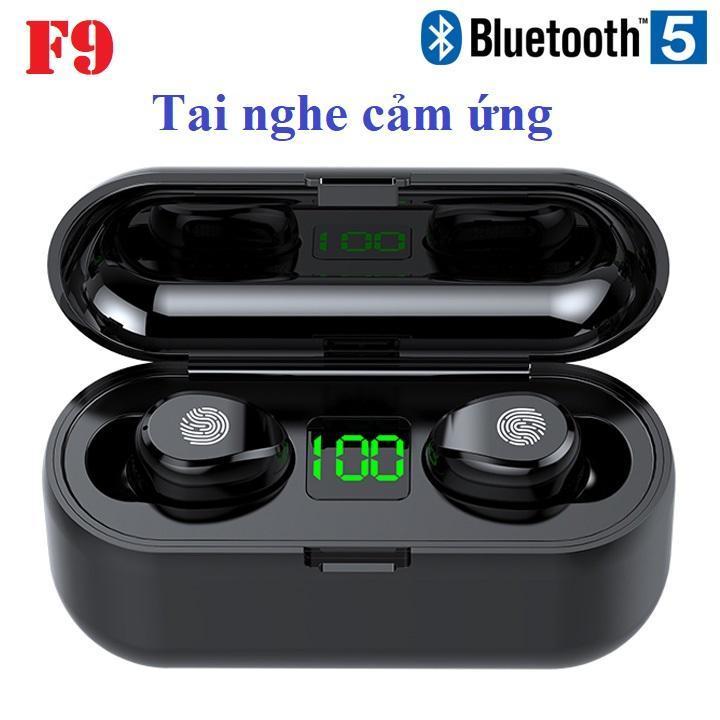 Tai nghe Bluetooth TWS F9 5.0 cảm ứng có thể tăng giảm âm lượng cao cấp màu đen - Hàng nhập khẩu