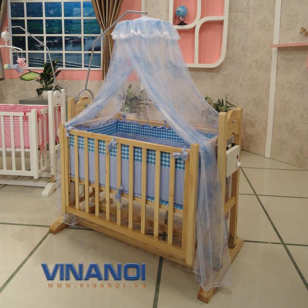 VINANOI VNN201 - Nôi điện em bé bằng gỗ thông 2 tầng 3 trong 1 giá mềm