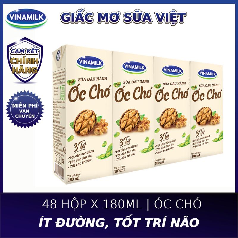 Thùng 48 hộp Sữa đậu nành Vinamilk hạt Óc chó - Lốc 4 hộp x 180ml